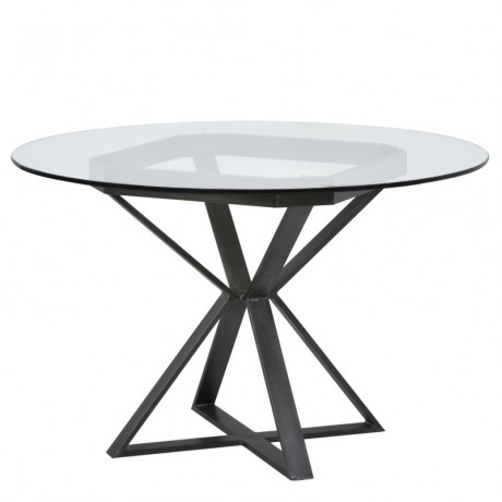 "Armen Living Cairo Round Dining Table in Mineral Finish and 48"" Glass Top"