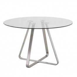 Cameo Modern Dining Table In Stainless Steel With Clear Glass Top