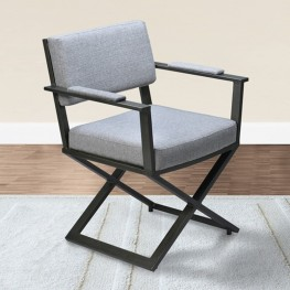 Armen Living Cairo Director Arm Chair in Mineral Finish and Gray Fabric