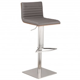 Café Adjustable Brushed Stainless Steel Barstool in Gray Pu with Walnut Back