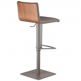 Café Adjustable Gray Metal Barstool in Gray Pu with Walnut Back