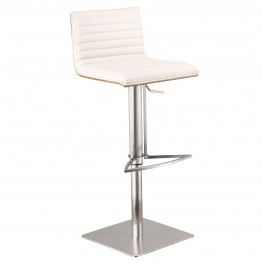 Café Adjustable Brushed Stainless Steel Barstool in White Pu with Walnut Back