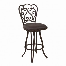 "Celeste 26"" Counter Height Metal Swivel Barstool in Bandero Espresso Fabric and Auburn Bay Finish"