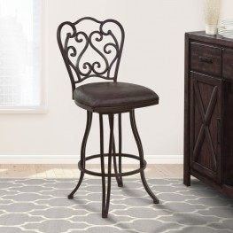 "Armen Living Celeste 30"" Bar Height Metal Swivel Barstool in Bandero Espresso Fabric and Auburn Bay Finish"