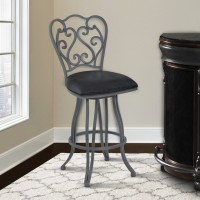 "Armen Living Celeste 26"" Counter Height Metal Swivel Barstool in Vintage Black Faux Leather and Cadet Gray Finish"