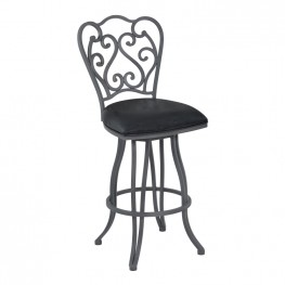 "Celeste 30"" Bar Height Metal Swivel Barstool in Vintage Black Faux Leather and Cadet Gray Finish"