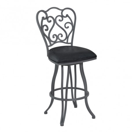 """Celeste 30"""" Bar Height Metal Swivel Barstool in Vintage Black Faux Leather and Cadet Gray Finish"""