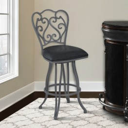 "Armen Living Celeste 30"" Bar Height Metal Swivel Barstool in Vintage Black Faux Leather and Cadet Gray Finish"