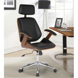 Armen Living Century Office Chair with Multifunctional Mechanism in Chrome finish with Black Pu upholstery and Walnut veneer back