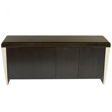 Chow Contemporary Marble Buffet Table in Black and Stainless Steel Finish