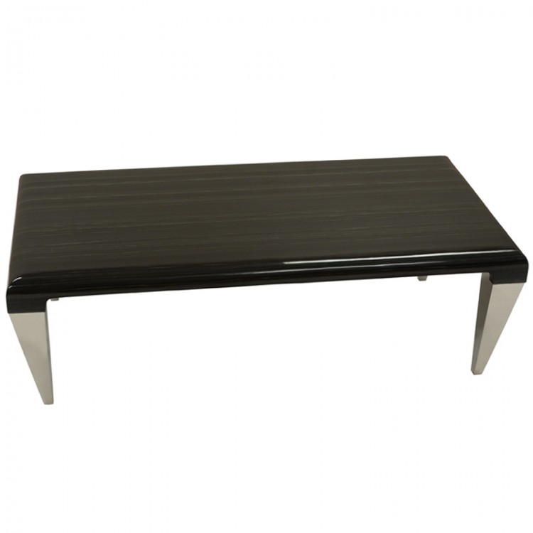 Chow Contemporary Marble Coffee Table In Black And Stainless Steel Finish