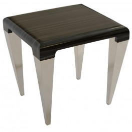 Chow Contemporary End Table in Black Marble and Stainless Steel Finish