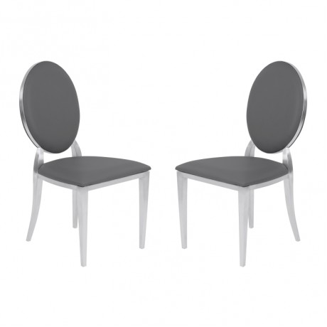 Armen Living Cielo Contemporary Dining Chair in Gray Faux Leather with Brushed Stainless Steel Finish - Set of 2