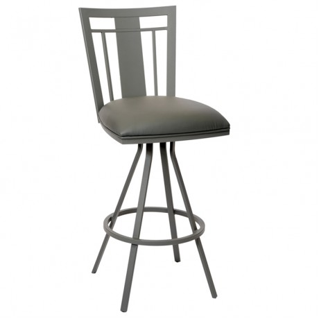 "Cleo 26"" Transitional Barstool In Gray and Gray Metal"