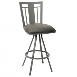 "Cleo 30"" Transitional Barstool In Gray and Gray Metal"