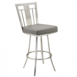 "Cleo 30"" Modern Barstool In Gray and Stainless Steel"