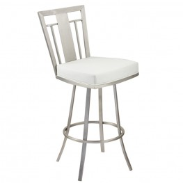 "Cleo 30"" Modern Barstool In White and Stainless Steel"