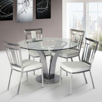 Cleo Contemporary Dining Chair In White  and Stainless Steel - Set of 2