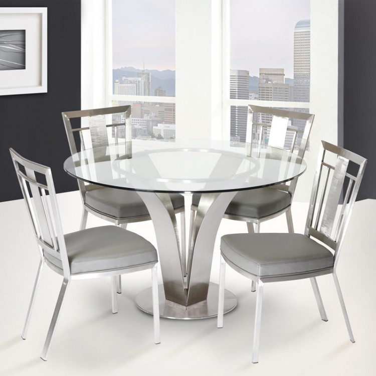 Contemporary Dining Table In Stainless Steel With Clear Tempered Glass