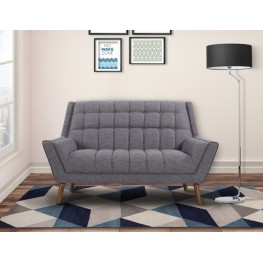 Armen Living Cobra Mid-Century Modern Loveseat in Dark Gray Linen and Walnut Legs