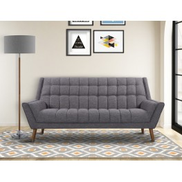 Armen Living Cobra Mid-Century Modern Sofa in Dark Gray Linen and Walnut Legs