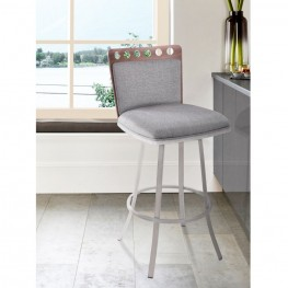 "Coco 26"" Barstool in Brushed Steel finish with Gray Fabric upholstery and Walnut back"