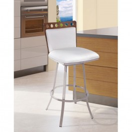"""Armen Living Coco 26"""" Barstool in Brushed Steel finish with White Pu upholstery and Walnut back"""