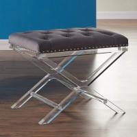 Armen Living Cody Modern and Contemporary Tufted Ottoman in Gray Velvet with Acrylic Legs