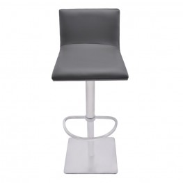 Crystal Adjustable Swivel Barstool in Gray Pu with Brushed Stainless Steel Finish and Gray Walnut Veneer Back