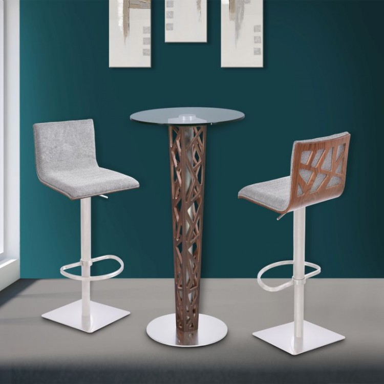 Armen Living Crystal Bar Table With Walnut Veneer Column And Brushed  Stainless Steel Finish With Clear ...