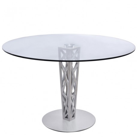"Armen Living Crystal Round Dining Table in Brushed Stainless Steel finish with Gray Walnut Veneer Column and 48"" Glass Top"