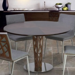"Armen Living Crystal 48"" Round Dining Table in Walnut veneer column and Brushed Stainless Steel finish with Walnut veneer Wood top"