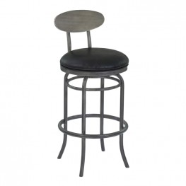 "Armen Living Davis 26"" Counter Height Metal Swivel Barstool in Vintage Black Faux Leather with Mineral Finish and Gray Walnut Wood Back"