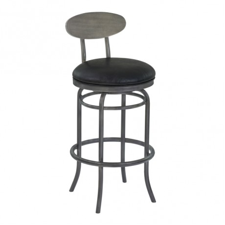 "Davis 26"" Counter Height Metal Swivel Barstool in Vintage Black Faux Leather with Mineral Finish and Gray Walnut Wood Back"