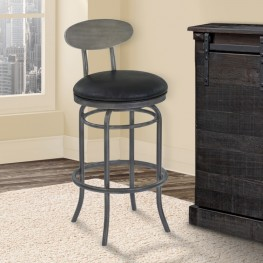 """Davis 30"""" Bar Height Metal Swivel Barstool in Vintage Black Faux Leather with Mineral Finish and Gray Walnut Wood Back"""