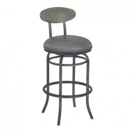 "Armen Living Davis 30"" Bar Height Metal Swivel Barstool in Vintage Gray Faux Leather with Mineral Finish and Gray Walnut Wood Back"