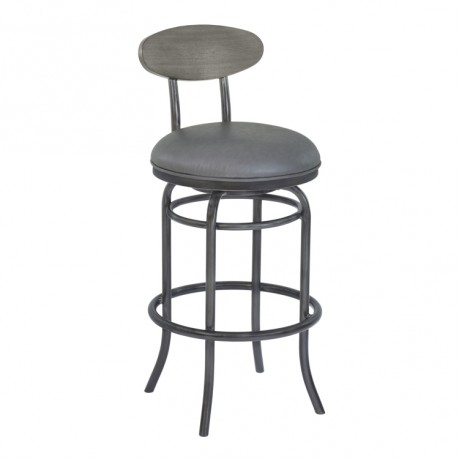 "Davis 30"" Bar Height Metal Swivel Barstool in Vintage Gray Faux Leather with Mineral Finish and Gray Walnut Wood Back"