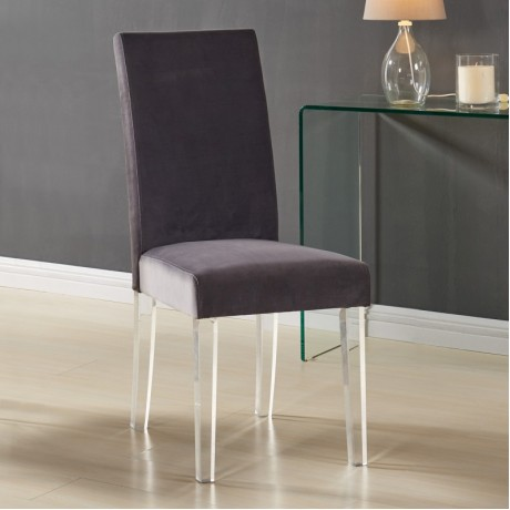 Dalia Modern and Contemporary Dining Chair in Gray Velvet with Acrylic Legs (Set of 2)