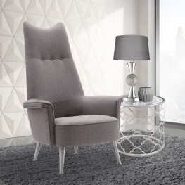 Danka Chair in Brushed Steel finish with Gray Fabric upholstery
