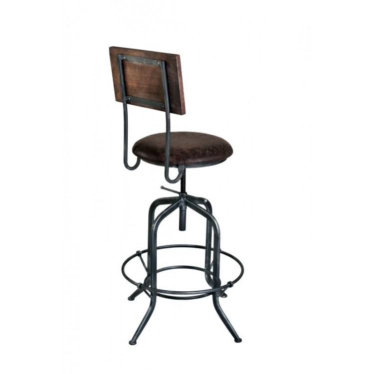Armen Living Damian Adjustable Barstool In Industrial Gray Finish With  Brown Fabric Seat