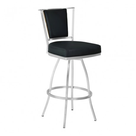 "Armen Living Delhi 26"" Counter Height Metal Barstool in Black Pu with Brushed Stainless Steel Finish and Walnut Veneer Back"