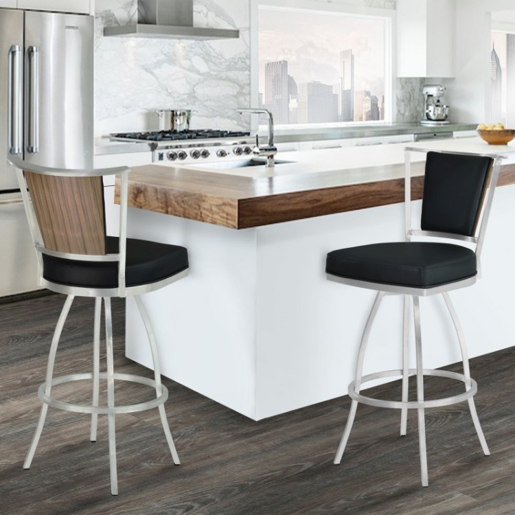 Armen Living Delhi 26  Counter Height Metal Barstool in Black Pu with Brushed Stainless Steel Finish and Walnut Veneer Back & Living Delhi 26