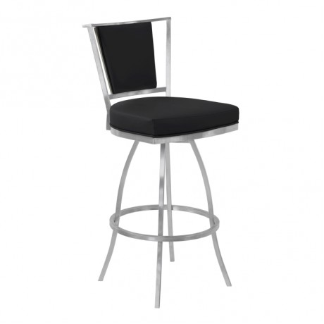 "Armen Living Delhi 30"" Bar Height Metal Swivel Barstool in Black Faux Leather with Brushed Stainless Steel Finish and Gray Walnut Back"