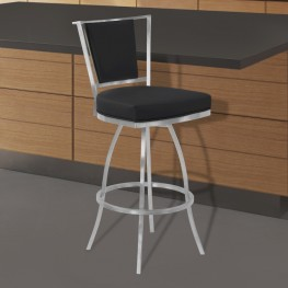 "Delhi 30"" Bar Height Metal Swivel Barstool in Black Faux Leather with Brushed Stainless Steel Finish and Gray Walnut Back"