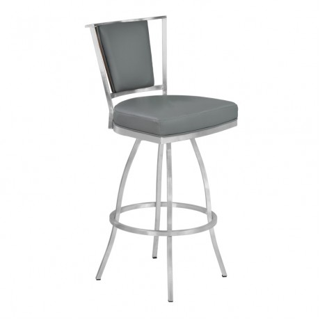 "Armen Living Delhi 26"" Counter Height Metal Barstool in Gray Pu with Brushed Stainless Steel Finish and Walnut Veneer Back"