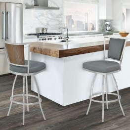 "Delhi 30"" Bar Height Metal Barstool in Gray Pu with Brushed Stainless Steel Finish and Walnut Veneer Back"