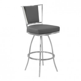 "Delhi 26"" Counter Height Metal Swivel Barstool in Gray Faux Leather with Brushed Stainless Steel Finish and Gray Walnut Back"