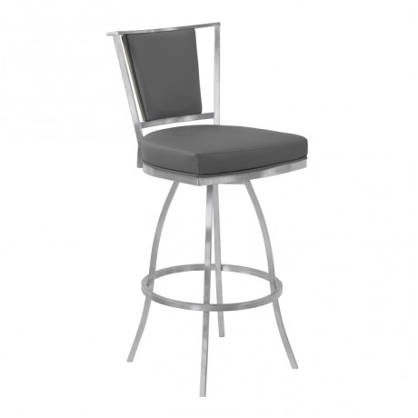 "Armen Living Delhi 26"" Counter Height Metal Swivel Barstool in Gray Faux Leather with Brushed Stainless Steel Finish and Gray Walnut Back"