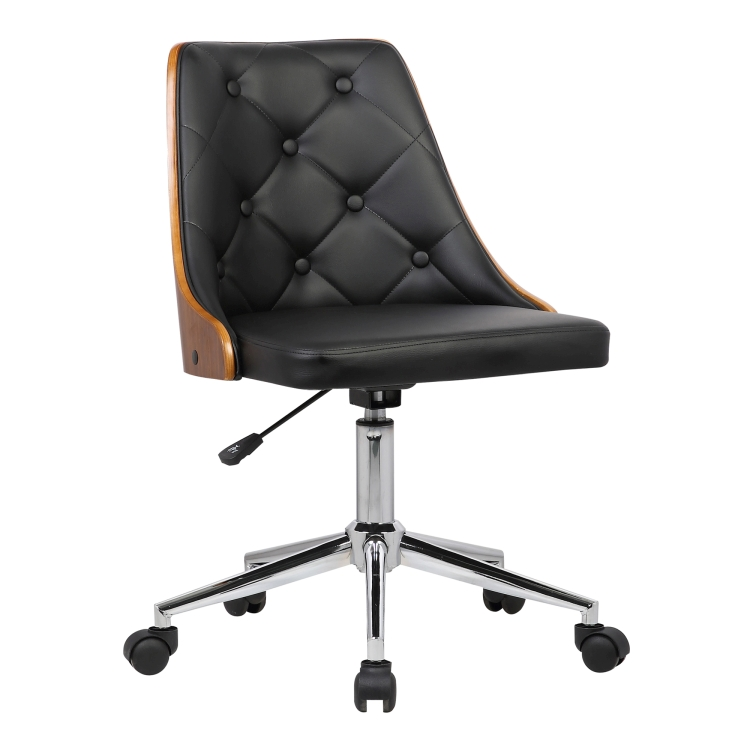 century office. Armen Living Diamond Mid-Century Office Chair In Chrome Finish With Tufted Black Faux Leather And Century