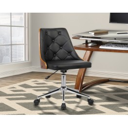 Diamond Mid-Century Office Chair in Chrome finish with Tufted Black Faux Leather and Walnut Veneer Back
